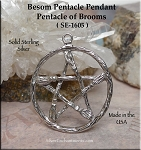 Sterling Silver Large Pentacle of Brooms Pendant, 30mm Witch's Broom Jewelry