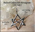 Sterling Silver Unicursal Hexagram Necklace, .925 Silver Unicursal Charm-Pendant, Aleister Crowley Pagan Jewelry, Thelema Jewelry