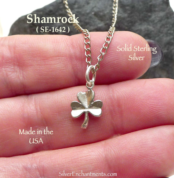 Sterling Silver Shamrock Charm Clover Necklace Silver