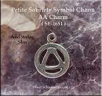 Sterling Silver AA Necklace, Small Alcoholics Anonymous Symbol, Sobriety Recovery Jewelry
