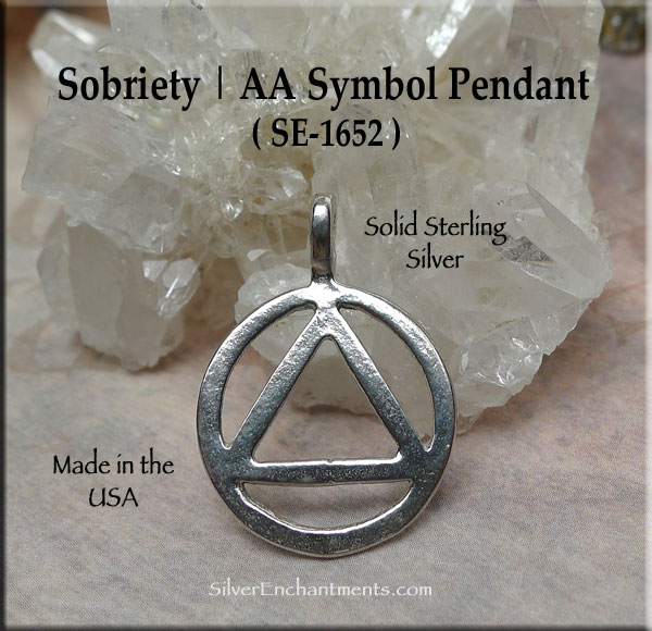 Sterling Silver Aa Pendant Necklace Alcholics Anonymous Recovery