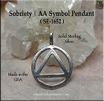 Sterling Silver AA Pendant, Alcoholics Anonymous Recovery Necklace