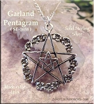 Sterling Silver Flower Pentacle Pendant, Garland Pentagram Necklace Pendant