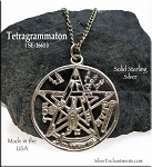Sterling Silver Tetragrammaton Necklace, Jewish Mysticism Pendant, 30mm Alchemy Jewelry