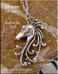 Sterling Silver Filigree Horse Necklace, Horse Jewelry, 34x20mm Horse Pendant