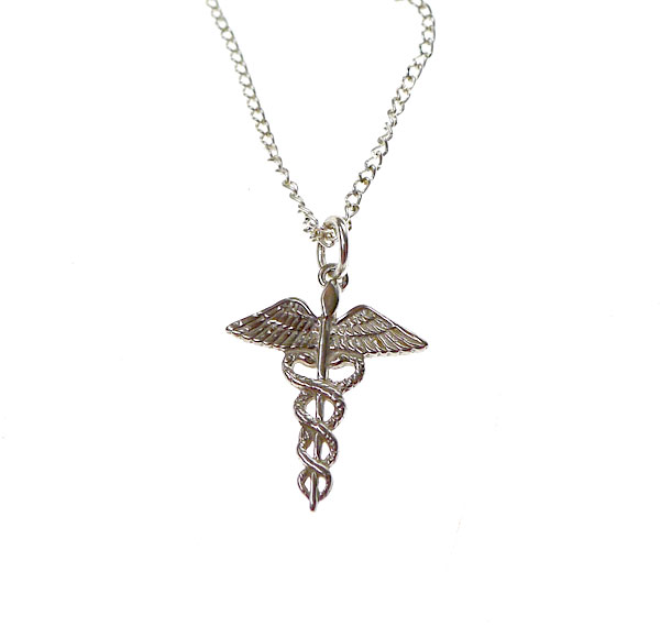 Sterling silver caduceus charm medical symbol necklace silver sterling silver caduceus necklace mozeypictures Image collections