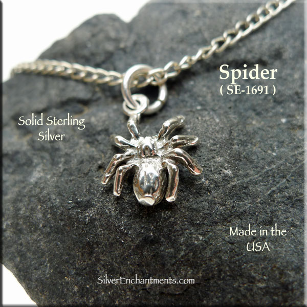 Sterling silver spider necklace crawling spider jewelry aloadofball Image collections