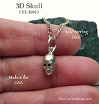 Sterling Silver Skull Charm, 3D Skull Necklace 13x6x7mm
