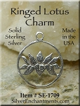 Sterling Silver Lotus Charm, Lotus Jewelry