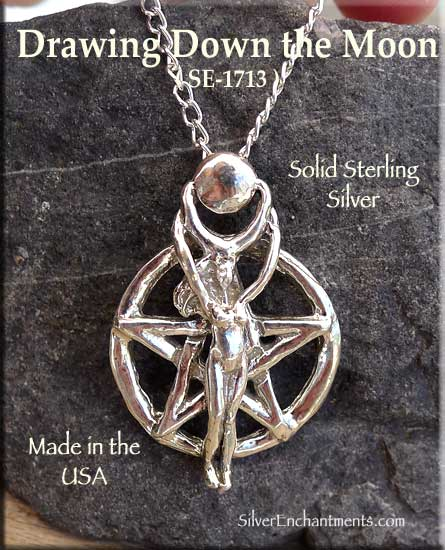 Sterling silver drawing down the moon pentacle pendant pagan jewelry mozeypictures Choice Image