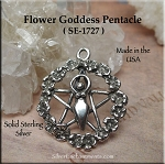 Sterling Silver Flower Goddess Pentacle Necklace, Goddess Pentagram Jewelry