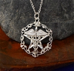 Sterling Silver Victorian Healer's Pentacle Pendant, Medical Wiccan Jewelry