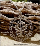 Sterling Silver Tree of Life Pentacle Necklace, Tree of Life Pentagram Jewelry