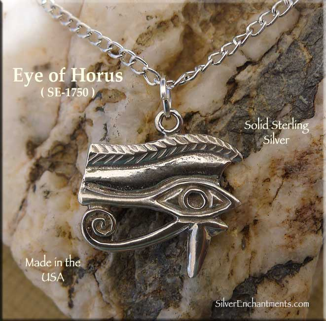 Sterling silver eye of horus pendant necklace egyptian jewelry mozeypictures Image collections
