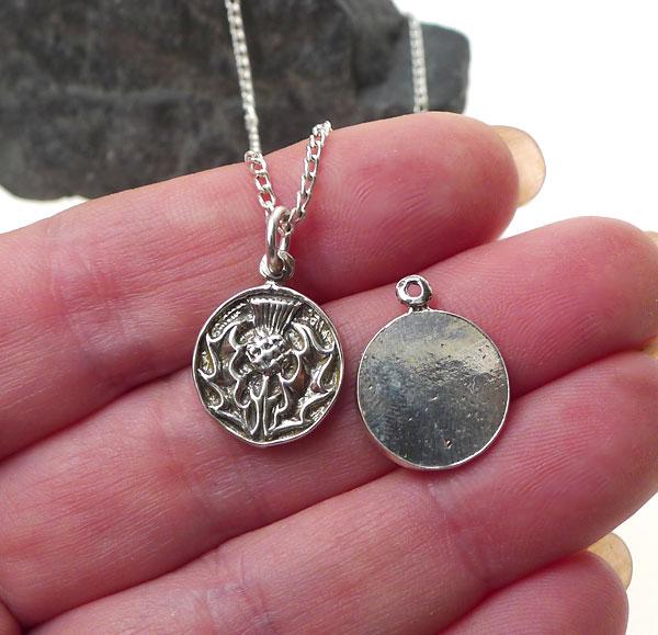 Sterling Silver Thistle Charm Scottish Thistle Medallion