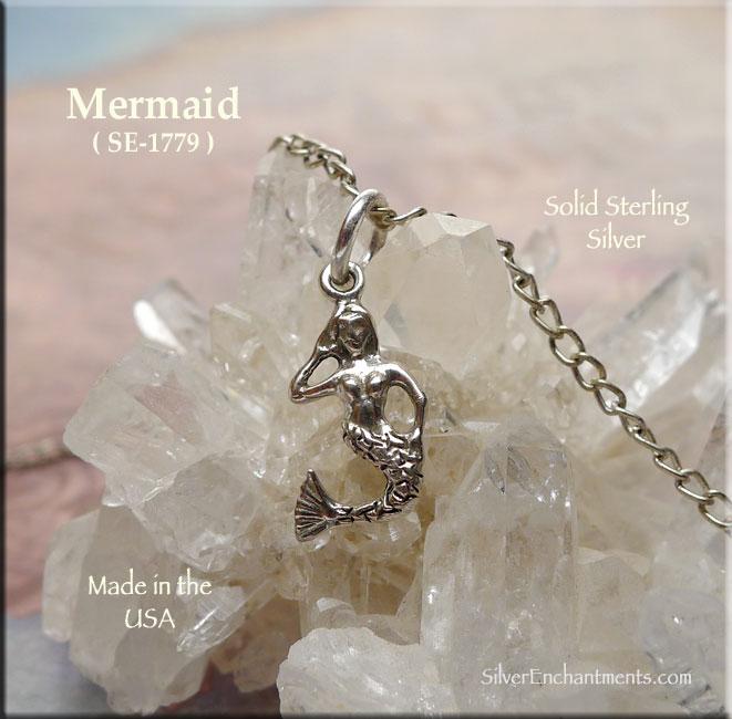 Sterling Silver Mermaid Charm Mermaid Necklace