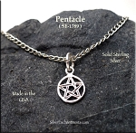 Sterling Silver Pentacle Charm, 10mm Pentagram Jewelry