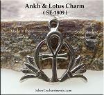 Sterling Silver Ankh and Lotus Charm, 18x19mm Egyptian Jewelry