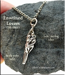 Sterling Silver Lovers Charm-Pendant, 3D Entwined Lovers Necklace