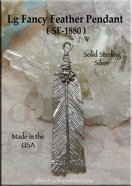 Sterling Silver Fancy Large Feather Pendant, 53x12mm