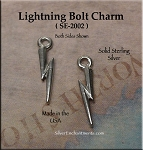 Sterling Silver Small Lightning Bolt Charm, Lightning Jewelry