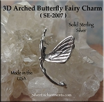 Sterling Silver 3D Fairy Charm, Arched Butterfly Fairy Jewelry