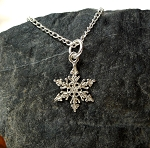 Sterling Silver Snowflake Necklace, Snowflake Charm, Snowflake Jewelry
