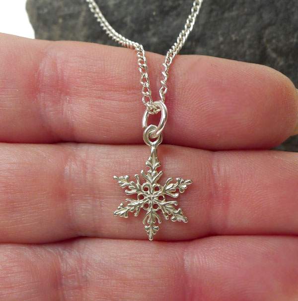 Sterling Silver Snowflake Necklace Snowflake Charm Silver Enchantments