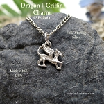 Sterling Silver Dragon Charm, Griffin Charm