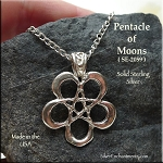 Sterling Silver Pentacle of Moons Necklace with Fancy Bail, Crescent Moon Pentagram Jewelry
