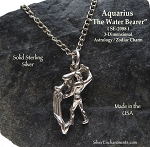 Sterling Silver Aquarius Charm, Aquarius Zodiac Astrology Jewelry, The Water Bearer