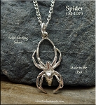 Sterling Silver Black Widow Spider Pendant