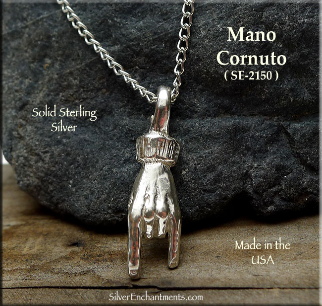 Sterling Silver Mano Cornuto Necklace Evil Eye Hand