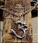 Sterling Silver Om Necklace, Meditation Charm, Om Jewelry