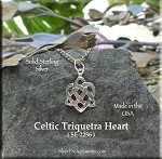 Sterling Silver Celtic Triquetra Heart Charm, Celtic Jewelry