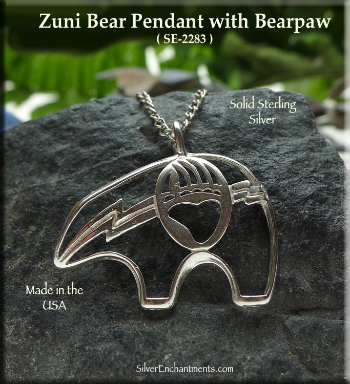 Sterling silver bear pendant with bearpaw bear necklace native sterling silver bear pendant with bearpaw bear necklace native american totem aloadofball Images