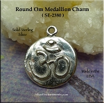Sterling Silver Round Om Charm, Hammered Om Medallion Jewelry