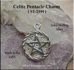Sterling Silver Celtic Pentacle with Braided Border, Pagan Jewelry, Celtic Jewelry