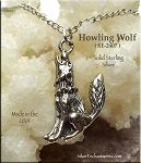 Sterling Silver Howling Wolf Pendant, Wolf Jewelry