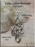 Sterling Silver Celtic Labrys Pendant, Double-headed War Axe