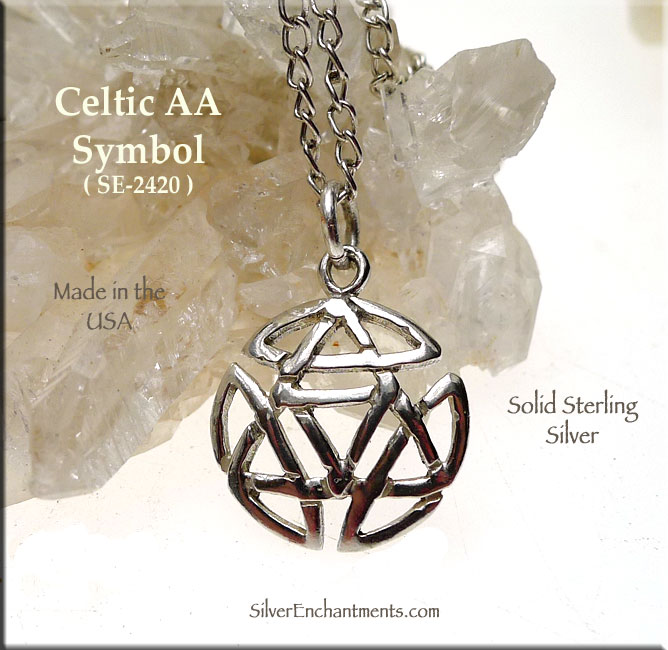 Sterling Silver Celtic Alcoholics Anonymous Necklace