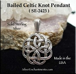 Sterling Silver Celtic Knot Pendant, Bailed