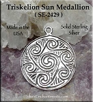 Sterling Silver Celtic Triskelion Medallion, Spiral Sun Pendant, Celtic Jewelry