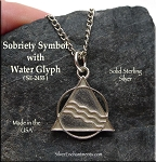 Sterling Silver Sobriety Pendant, Recovery AA Necklace with Glyph of Transformation