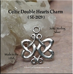 Sterling Silver Celtic Double Hearts Charm Necklace, Celtic Wedding Jewelry
