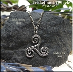Sterling Silver Triskelion Pendant Necklace, Celtic Spiral Triskele Celtic Jewelry