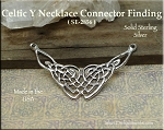 Sterling Silver Celtic Y Necklace Connector Finding, 30x46mm Celtic Jewelry Supply
