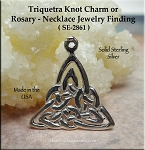 Sterling Silver Triquetra Necklace, Celtic Triquetra Charm, Rosary Y, Necklace Finding, 22mm