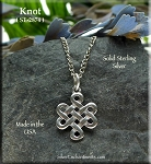 Sterling Silver Celtic Necklace, Celtic Knot Charm, Witch's Knot Jewelry