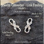 Sterling Silver Infinity Jewelry Link Connector Finding, 16mm
